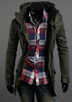 Item Type: Jacket Material: Polyester, CottonStyle: FashionFit: Regular fitCollar: StandardClosure Type: ZipperThickness: Standard Sizes come smaller than usual. Cheap Winter Jackets, Cheap Mens Jackets, Long Jackets, Military Fashion, Mens Fashion, Style Fashion, Trench Coat Men, Military Style Jackets, High Collar