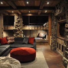 Bunk rooms began as a way to sleep many people in a small space. But with modern day design capabilities, bunk rooms often become the best hang out in the house! We chose a grouping of our favorite designs that definitely prove bunk rooms don't. Sofa Design, Interior Design, Cabin Design, Modern Interior, Design Design, Rustic Basement, Basement Ideas, Basement Bars, Basement Designs