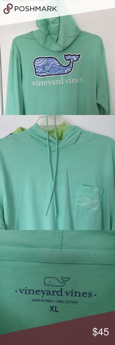 Vineyard Vines Hoodie Tee EUC Vineyard Vines long-sleeve tee shirt hoodie. Worn and washed exactly one time. It's a little too big for my hubs. The drawstring came out in the wash, but can be threaded back through. Please let me know if you have any questions. Thanks! Vineyard Vines Tops Tees - Long Sleeve