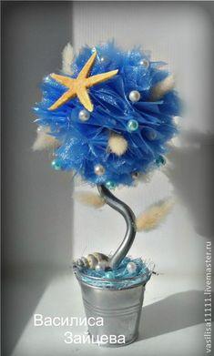 """Делаем топиарий """"Морской бриз"""" из органзы - Ярмарка Мастеров - ручная работа, handmade"""