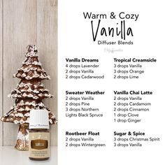 Vanilla oleoresin has a rich, warm, comforting aroma with sweet top notes. It blends well with most essential oils including mints, citrus, spicy, and woodsy oils. Try these warm and cozy vanilla diffuser recipes this holiday season! Essential Oils Room Spray, Essential Oils Guide, Essential Oil Perfume, Essential Oil Diffuser Blends, Doterra Essential Oils, Diy Diffuser Oil, Mixing Essential Oils, Yl Oils, Essential Oil Scents