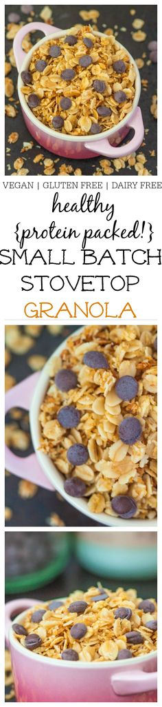 Healthy Small Batch Stovetop Granola- No OVEN NEEDED!- A delicious vegan, dairy free and gluten free granola made over the stove which takes less than 10 minutes and is single serving!