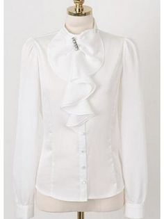 All Matched Long Sleeve Flouncing Neck White Blouse