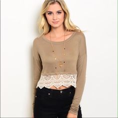 Cute Crop Top Mocha Cream Long sleeve crop top features a rounded neckline and contrast colored scalloped Crochet Trim. 98% Rayon 2%. 20% Off two items or more. Trades PP. Reasonable offers always welcome  Free shipping on orders over $50 Tops Crop Tops