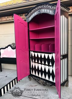 Transform an armoire into a work of art to use in my craft/office. Whimsical Painted Furniture, Hand Painted Furniture, Funky Furniture, Refurbished Furniture, Paint Furniture, Repurposed Furniture, Furniture Projects, Furniture Making, Furniture Makeover