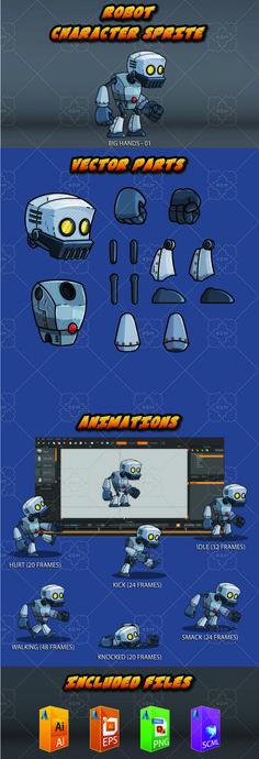 The big hands robot - Sprites Game Assets Game Design, Game Character Design, Character Ideas, Character Inspiration, Design Ideas, Vector Robot, Vector Game, 2d Game Art, Video Game Art