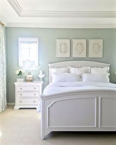 Walls are Restoration Hardware Silver Sage (gray/green/blue tranquil spa-like feel), furniture is painted Sherwin Williams (premium in Satin Finish) Elder White, Ballard Jardin Toile drapes, Ballard Coretta Wood Fragments Set of 3 artwork (intricately scrolled crest designs) above bed, Masland Park Avenue carpet, White ceiling, use SW primer before painting furniture & paint with a finish roller or use Flow Trol that smooths out brushstrokes