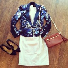 Love a pattern blazer or cardi with a solid dress
