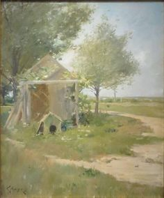 """The Backyards Shinnecock,"" William Merritt Chase, oil on canvas, 30 x 25"", Ashley John Gallery."