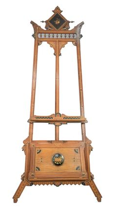 Aesthetic Walnut Easelwith portfolio holder having inlaid and ebonized highlightsheight 87 inches, width 40 inchesProvenance: Mat... Lot 0294, Jan 01, 2021 Auction, Easels, Gallery, Wood, Furniture, Style, Swag, Saw Horses, Roof Rack