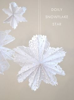 Make 3D snowflake stars from doilies