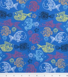 Novelty Cotton Fabric- Outline Tropical Fish