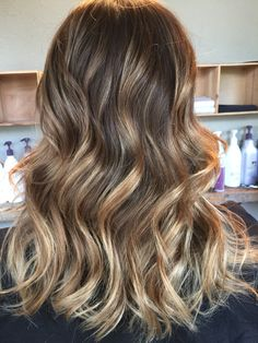 Full Balayage, started all brown toned with a beige gloss!