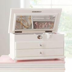 Jewellery Storage Earrings Jewelry Box Ideas For 2019 Chloe Jewelry, Earring Jewelry Box, Jewelry Box With Lock, Kids Jewelry Box, Small Jewelry Box, Jewelry Holder, Modern Jewelry Box, White Jewelry Box, Painted Jewelry Boxes