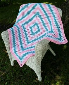Pink and Teal Baby Blanket by ThelmasGifts on Etsy