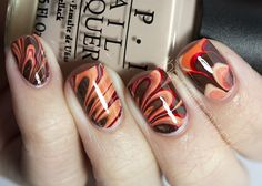 The Nail Network: Shades of Autumn Water Marble