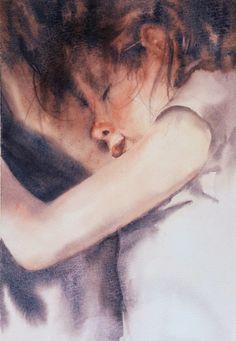 Portrait d'enfant endormi dans la douce lumière d'un après-midi d'été. 25×35 cm, hors cadre. Child asleep in the afternoon soft light. 25×35 cm, without frame. En lire + ...