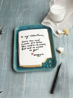Use a food-safe marker (yup, they make those), to write a love note to your sweetie on a sugar cookie.     #diy #crafts