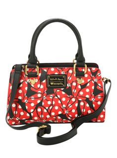Red simulated leather satchel style bag with Minnie Mouse bows design. Zip closure.