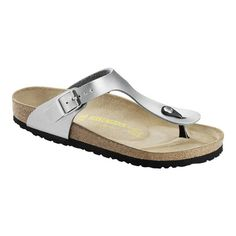 Buy the Birkenstock Gizeh at eBags - Enjoy comfort and style all day long in these slip-on Birkenstock sandals. The Birkenstock Gizeh san Silver Flat Sandals, Silver Shoes, Leather Sandals, Silver Flip Flops, Shops, T Strap Sandals, Shoes Sandals, Flat Shoes, Sandals Outfit