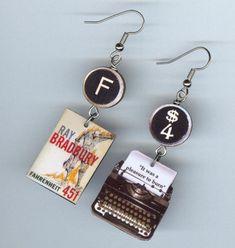 Fahrenheit 451 earrings typewriter