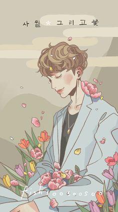 Wallpaper Wa, Exo Fan Art, Kpop Merch, Kawaii, Kpop Fanart, Line Art, Chibi, Art Drawings, Cartoon