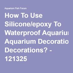 How To Use Silicone/epoxy To Waterproof Aquarium Decorations? - 121325