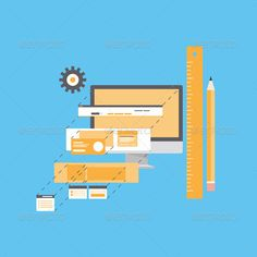 Website Development Flat Illustration by Bloomicon Flat design style modern vector illustration concept of website user interface design and development process, web page form progr