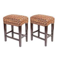 birdrock home sea grass backless counter stools set of 2 - Seagrass Bar Stools