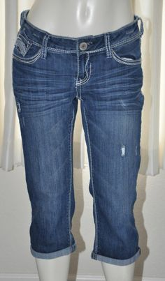 Hydraulic Jeans Crop Capri Size 5/6 Small Medium Juniors Blue Denim #HYDRAULIC #CapriCropped