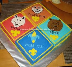 Homemade Cub Scout Cake: For this year's Blue & Gold Banquet, I was commissioned to bake a Cub Scout cake. We have about 100 boys in our Pack, so I knew the cake was going to need