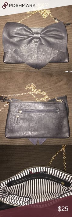 Just Fab Shoulder Bag Just Fab Handbag with Big black bow!  Super cute. Excellent condition JustFab Bags Shoulder Bags
