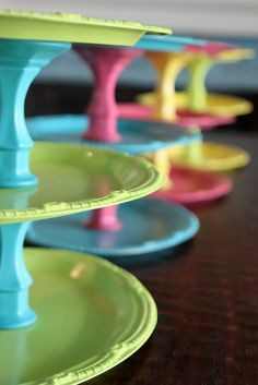 Colorful tiered trays - made with trays and candlesticks from the Dollar Tree.