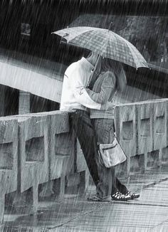 I love rain pictures. Kissing In The Rain, Walking In The Rain, Big Bisous, Rain Quotes, Quotes Quotes, I Love Rain, Under My Umbrella, Rain Umbrella, Romantic Moments