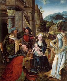 Unknown Artist (Antwerp)  Triptych with Adoration of the Magi  Netherlands (c. 1520s)  Oil on panel, 89.9 x 37.9 cm.  Musea Brugge, Hospitaalmuseum.