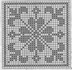 Quatrat in Filethäkelei Filet Crochet Charts, Crochet Motifs, Crochet Cross, Crochet Diagram, Knitting Charts, Crochet Squares, Crochet Doilies, Crochet Stitches, Crochet Patterns