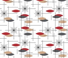 Retro Curtain Fabric - Orbs #4 (Red/Grey/Tan) - gammagammahey - Spoonflower