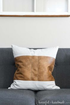 Decorative Leather Throw Pillows : These decorative leather pillow covers are the perfect mix of feminine and masculine decor! See how to easily sew a faux leather pillow cover with patterns for 3 different designs. Cheap Throw Pillow Covers, Diy Throw Pillows, Leather Throw Pillows, Leather Pillow, How To Make Pillows, Velvet Pillows, Sofa Pillows, Decorative Pillow Covers, Throw Blankets