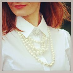 White shirt & pearls by Not Dressed As Lamb