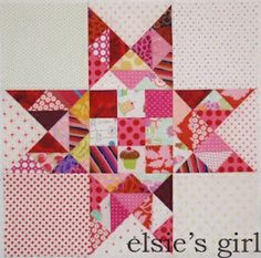 Pink Dotty star quilt block from scraps