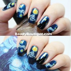 Stick on Starry Night Nail Decals