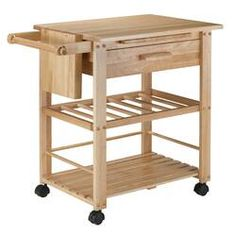 Just for You Finland Kitchen Cart with Wooden Top - Winsome Kitchen Island Cart, Rustic Kitchen Island, Kitchen Islands, Kitchen Carts, Wooden Kitchen, Ikea Kitchen, Kitchen Dining, Minimal Kitchen Design, Rolling Kitchen Cart