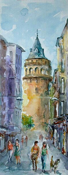 Walking around the Galata Tower is a great way to spend an afternoon in Istanbul … - ART Watercolor Painting Watercolor City, Watercolor Sketch, Watercolor Landscape, Watercolor Illustration, Watercolor Paintings, Watercolors, Art Aquarelle, Urban Sketching, Watercolor Techniques