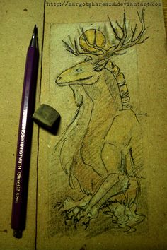 bookmark sketch - WIP of Golden Phobos (his brother Silver Deimos is still in my head)