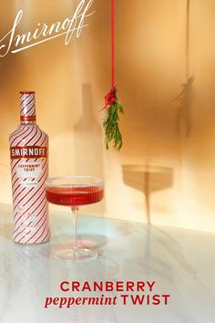 Would you look at what we found under the mistletoe. Cranberry Peppermint Twist Recipe: oz Smirnoff Peppermint Twist 1 oz cranberry juice oz lime juice Splash of ginger ale Sugared rim Alcohol Drink Recipes, Vodka Drinks, Party Drinks, Cocktail Drinks, Fun Drinks, Yummy Drinks, Alcoholic Drinks, Liquor Drinks, Martinis