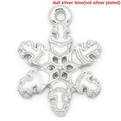 5 Silver Tone and White Christmas Snowflake by BreezeBeading, $4.00