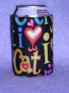 I Love My Cat can or Water Bottle Koozie by favorite4paws on Etsy, $2.00