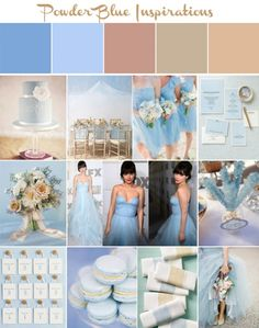 Powder Blue and Nude Wedding Inspiration Board - inspired by Zooey Deschanel's Reem Acra gown