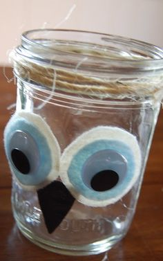 owl jar- this would be cute to store classroom memories from the year.  We could read them periodically throughout the year