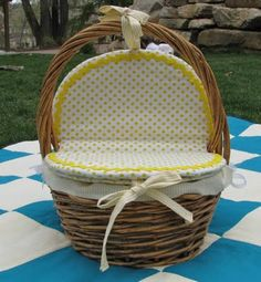 Tutorial on lining a picnic basket like mine. Will maybe use as nappy storage downstairs?